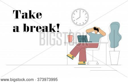 Take A Break. Flat Man Is Resting From Work. He Sits At A Table In Front Of A Computer With His Hand