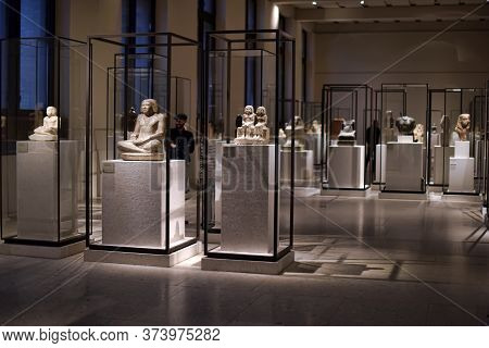 Berlin, Germany - 26.03.2015  Exhibition New Museum, Egyptian Collection - Scribe Figure Of Sobekhot