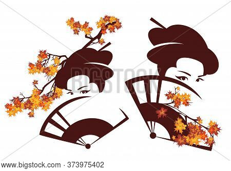 Beautiful Geisha With Face Hidden Behind Hand Fan And Maple Branches - Autumn Season Japanese Beauty