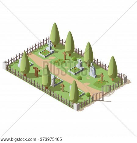 3d Vector Illustration Of Graveyard With Wooden Crosses And Granite Tombstones, Isolated On White Ba