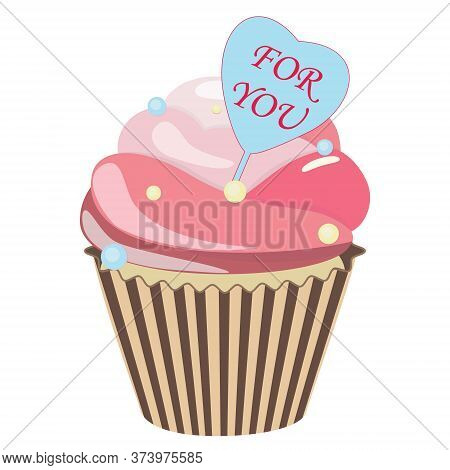 Romantic Cupcake. Realistic Cupcake. Sweet Creamy Desserts Muffins With Frosting Flavors Decoration,