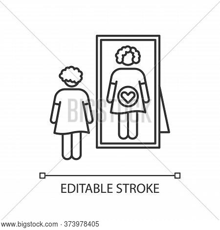 Intuitive Feeling Pixel Perfect Linear Icon. Early Sign Of Pregnancy. Woman Awaiting For Baby. Thin