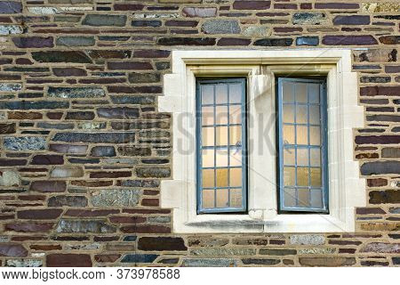 Trellised Window Of One Of The Oldest American University Campus Buildings, Usa