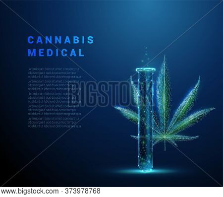 Low Poly Medical Cannabis. Marihuana Leaf And Tube