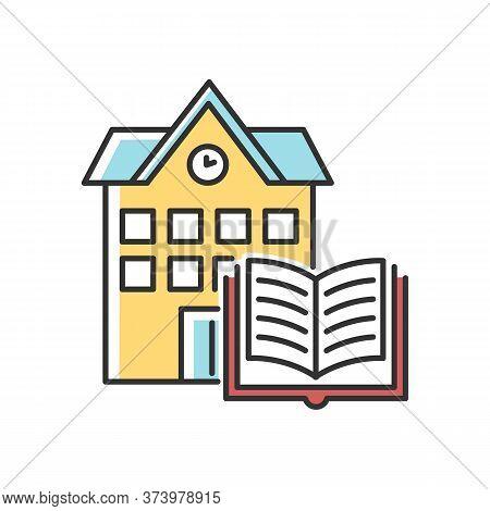 Public Library Rgb Color Icon. Educational Establishment. University, College Education. Book Storag
