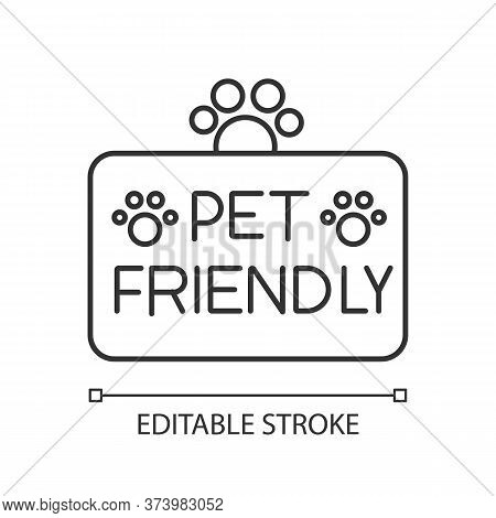Pet Friendly Territory Pixel Perfect Linear Icon. Grooming Salon, Animals Care Service. Thin Line Cu
