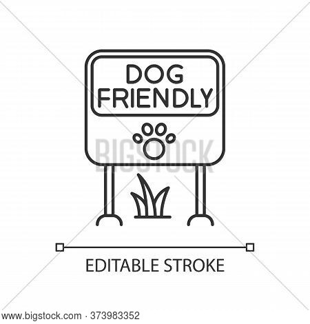 Dog Friendly Place Pixel Perfect Linear Icon. Doggy Allowed Park And Square, Lawn And Garden. Thin L