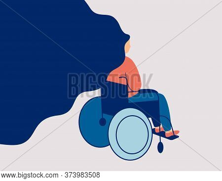 Sad Young Woman Is Sitting In A Wheelchair Isolated On Light Background. Back View Of Female Person