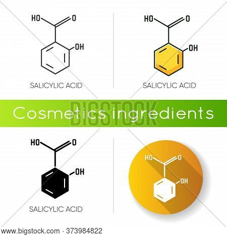 Salicylic Acid Icon. Chemical Sequence. Molecular Formula. Skincare Component. Scientific Research.