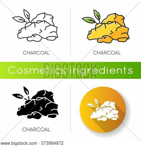 Charcoal Icon. Natural Skincare Component. Organic Scrub. Cleansing Product. Hydrating And Detox Pro