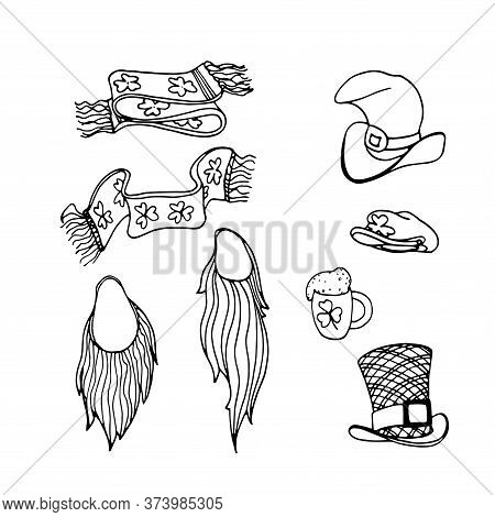 Set Of Elements For The St. Patrick's Day Holiday, False Beard, Hats, Scarves, Ale Mug, Vector Illus