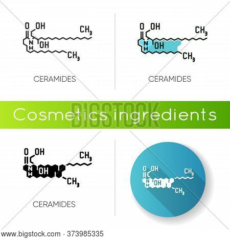 Ceramide Icon. Chemical Skeletal Structure. Scientific Formula. Research For Dermatology. Lipid Mole