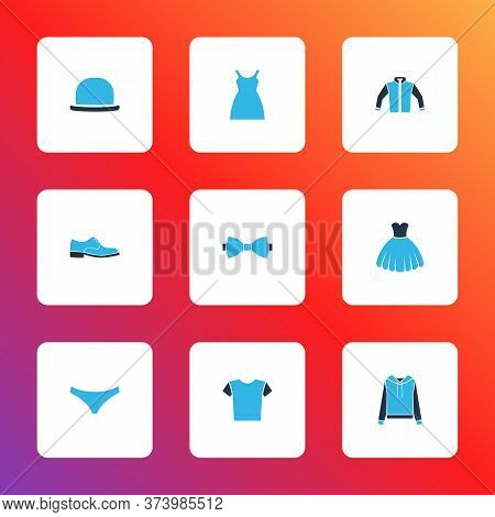 Garment Icons Colored Set With Shirt, Sundress, Man Shoe And Other Necktie Elements. Isolated Illust