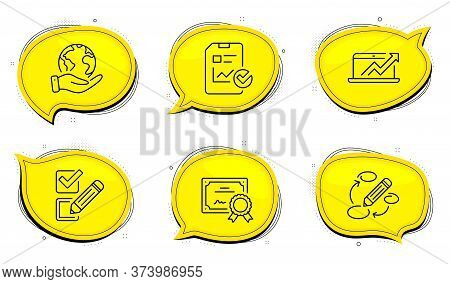 Checkbox Sign. Diploma Certificate, Save Planet Chat Bubbles. Sales Diagram, Report Checklist And Ke