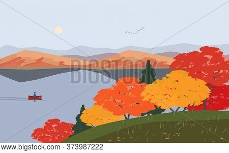 Autumn Nature Landscape. Colorful Minimal Cartoon. Fall Season Banner Background. Boat On Calm River