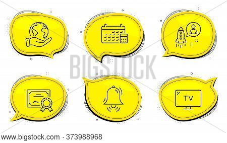 Clock Bell Sign. Diploma Certificate, Save Planet Chat Bubbles. Startup, Calendar And Tv Line Icons