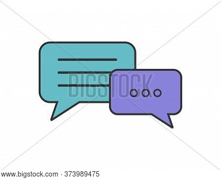 Speech Bubble In Flat. Discussion Conversation Icons. Chat Dialogue In Baloon Style. Isolated Talk O
