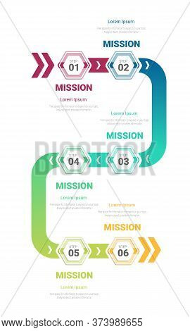 Infographic Template With Numbers Six Option Can Be Used For Workflow Layout, Diagram, Number Step U