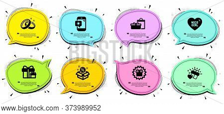 Surprise Package, Sale And Surprise Gift Signs. Chat Bubbles With Quotes. Weather Phone, Nice Girl A