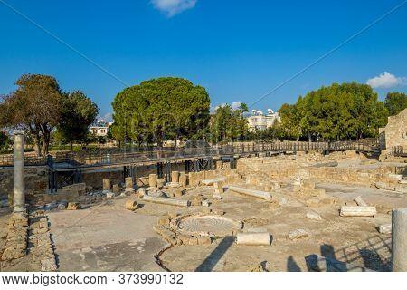 Paphos Atrium Excavations, Paphos, Cyprus Island. Ancient Columns and Floor Mosaic Remains.