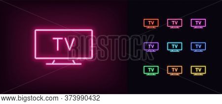 Neon Tv Icon. Glowing Neon Television Sign, Set Of Isolated Widescreen Tv Display In Different Vivid