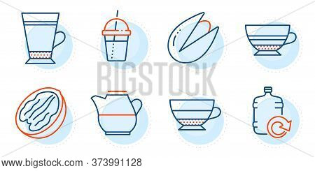 Refill Water, Mocha And Milk Jug Signs. Latte, Pecan Nut And Pistachio Nut Line Icons Set. Coffee Co