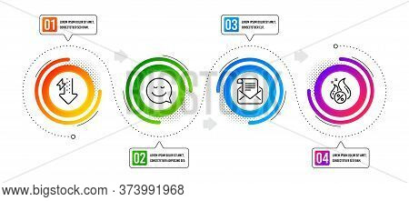 Energy Drops, Smile And Mail Newsletter Line Icons Set. Infographic Timeline. Hot Loan Sign. Power U