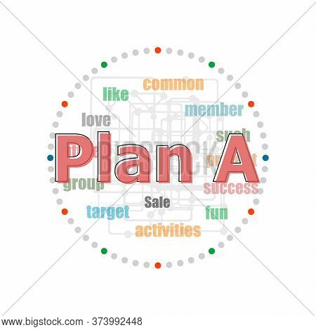 Word Plan A On Digital Screen, Business Concept . Word Collage With Different Association Terms
