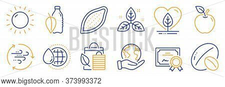 Set Of Nature Icons, Such As World Water, Soy Nut. Certificate, Save Planet. Water Bottle, Apple, Lo
