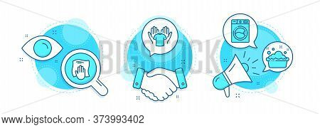 Washing Machine, Hand Washing And Hold T-shirt Line Icons Set. Handshake Deal, Research And Promotio