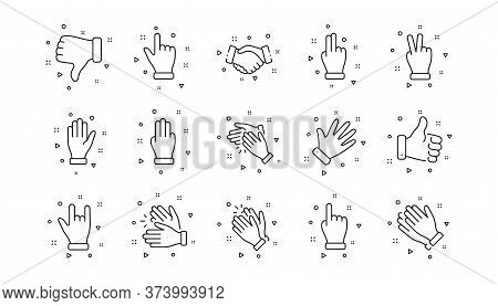 Handshake, Clapping Hands, Victory. Hand Gestures Line Icons. Horns, Thumb Up Finger, Drag And Drop