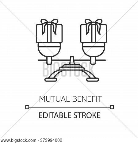 Mutual Benefit Pixel Perfect Linear Icon. Thin Line Customizable Illustration. Equality In Relations