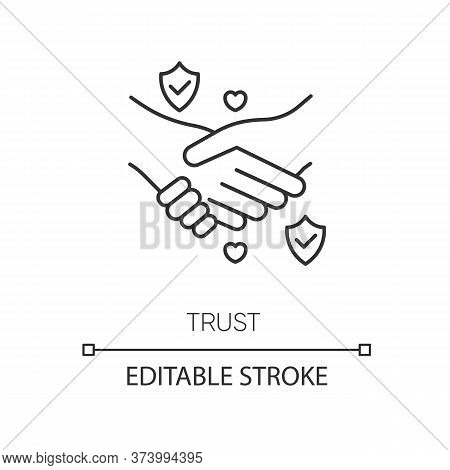 Trust Pixel Perfect Linear Icon. Thin Line Customizable Illustration. Strong Friendship, Reliable Pa