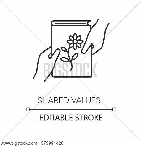 Shared Values Pixel Perfect Linear Icon. Thin Line Customizable Illustration. Common Interests Conto