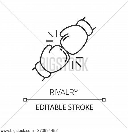 Rivalry Pixel Perfect Linear Icon. Thin Line Customizable Illustration. Friendly Contest, Competitiv