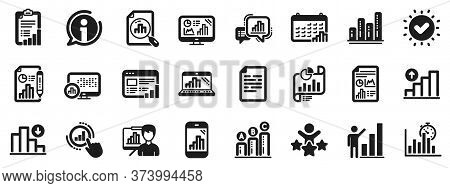Set Of Chart Presentation, Report, Increase Growth Graph Icons. Graph Icons. Analytics Testing, Fall