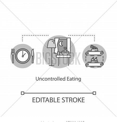 Uncontrolled Eating Concept Icon. Mindless Eating, Overeating Idea Thin Line Illustration. Late Nigh