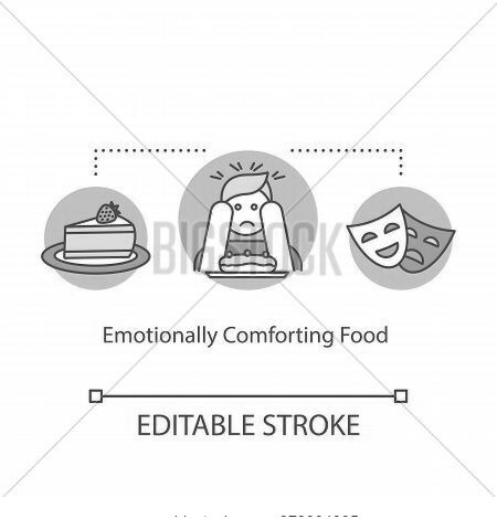 Emotionally Comforting Food Concept Icon. Mindful Eating, Conscious Nutrition Idea Thin Line Illustr