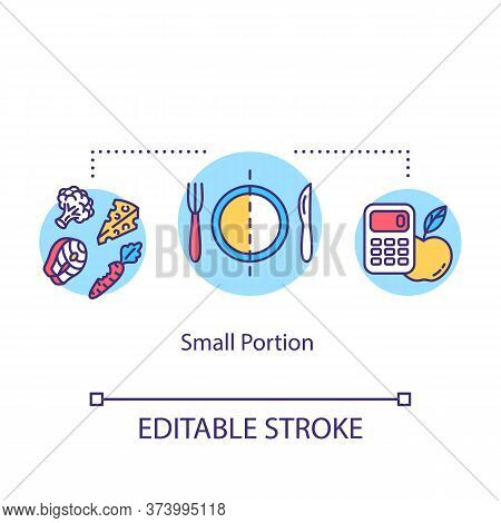 Small Portion Concept Icon. Mindful Eating, Conscious Nutrition Idea Thin Line Illustration. Limit P