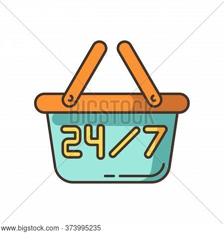 24 7 Hours Store Rgb Color Icon. Twenty Four Seven Convenience Store. 24 Hrs Retail Shop. Supermarke