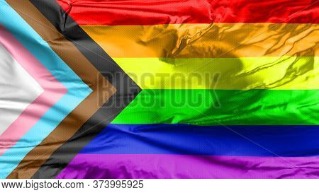 Lgbt Rainbow Flag With Inclusion And Progression Colors. Symbol Of Lesbian, Gay, Bisexual & Transgen