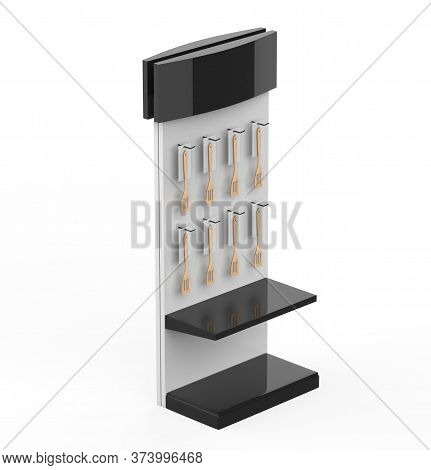 Plastic Kitchen Slotted Turner Display Stand, Retail Display Stand With Hook For Product , Display S