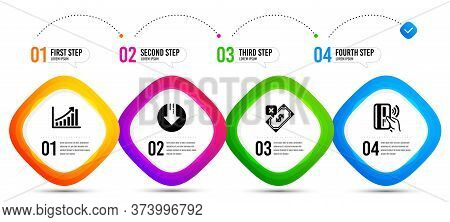 Rejected Payment, Contactless Payment And Graph Chart Icons Simple Set. Timeline Infographic. Downlo