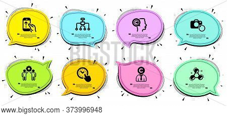 Swipe Up, Writer And Time Management Signs. Chat Bubbles With Quotes. Restructuring, Employees Teamw