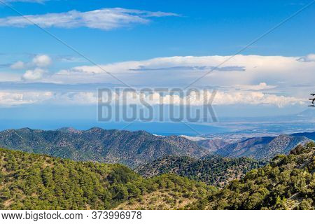 Sea and Mountains Cyprus Landscape on Sunny Day. Travel Background.