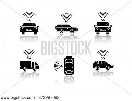 5g Smart Cars Drop Shadow Black Glyph Icons Set. Vehicles With Internet Connection. Autonomous Drivi
