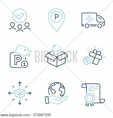 Parcel Delivery, Ambulance Emergency And Parking Line Icons Set. Diploma Certificate, Save Planet, G