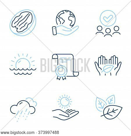 Fair Trade, Rainy Weather And Sun Protection Line Icons Set. Diploma Certificate, Save Planet, Group