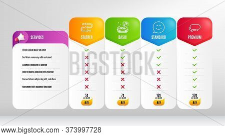 Messenger, Car Service And Smile Chat Line Icons Set. Pricing Table, Price List. Methodology Sign. S