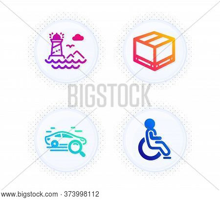 Search Car, Delivery Box And Lighthouse Icons Simple Set. Button With Halftone Dots. Disabled Sign.